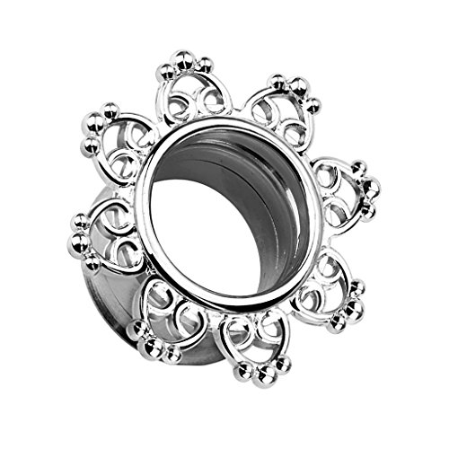 Piercingfaktor Flesh Tunnel Ear Plug Ohr Piercing Herzen Vintage Mandala Sonne Edelstahl Silbern 5mm