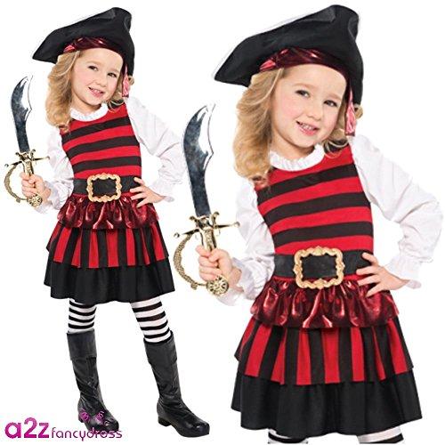 stüm für Mädchen, Größe S (Piraten Kostüme Kleinkind Mädchen)