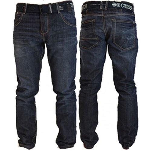 Crosshatch Mens Nouvelles Techno Straignt Leg Jeans Mi Oeil Utilisé Dark Wash