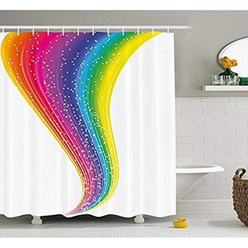orhang von, Abstract Rainbow River mit Sternen Bunte glücklich Bild Farbspektrum Illustration, Stoff Badezimmer Dekor Set mit Haken, Multicolor 72 'x 80' ()