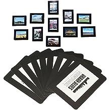 Marcos de fotos magnéticos y imanes de nevera, marco de bolsillo para nevera, blanco, negro, tiene 4x6 fotos de 3,5x5 2,5x3,5 pulgadas, paquete de 15 (negro)