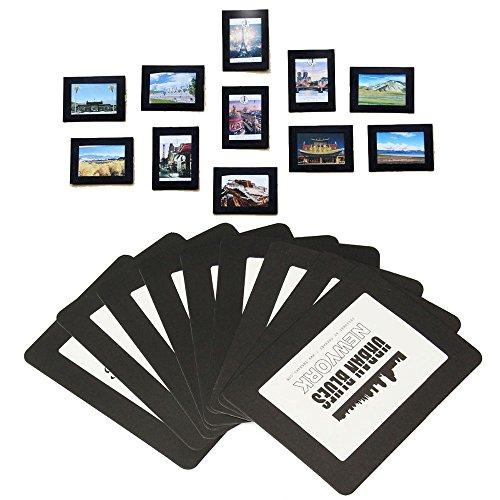 Magnetische Foto-Bilderrahmen und Kühlschrankmagnete, Taschenrahmen für Kühlschrank, weiß, schwarz, hält 4x6 3.5x5 2.5x3.5 (hält 6