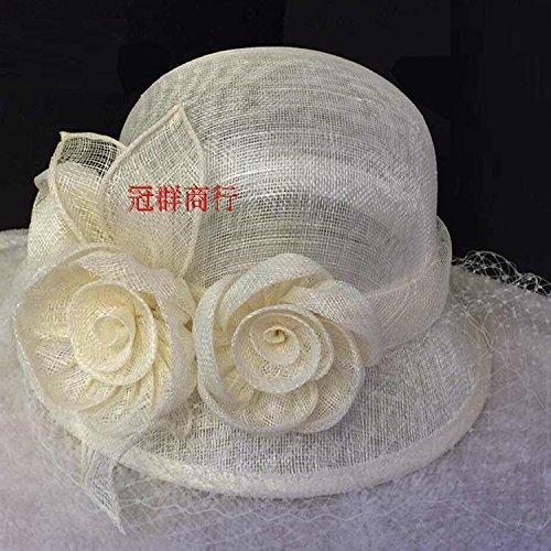 Upper-Linge de gaze à la main vintage visor Hat veil Milky white