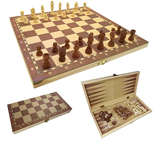 ct Juego de ajedrez 3 en 1 Juego de Tablero de ajedrez Damas Backgammon Plegable para Adulto y niños