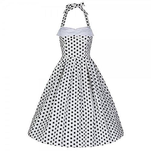Lindy Bop Damen Kleid Deidre White Polka schwarz weiß Punkte (m) (Lindy Bop Vintage Kleider Schwarz)