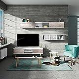 OVERHOME365 Dawson - Modulo de colgar horizontal, madera, color blanco y vintage, 120x30x30 cm