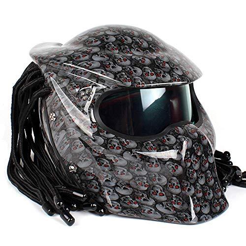 ONLY ME Motorrad Jagged Warrior Predator Helm vorne Flip Open D.O.T Certified Motorrad Harley Retro Scorpion Maske Cross Country mit Geflecht und LED-Licht,Gray,L (Helm Und Maske Predator)