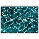 Set di 10: Carta fotografica di alta qualità, invito rinfrescante alla festa in piscina: pool party - con busta