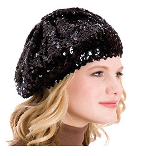 Damen-Mütze mit Pailletten - schwarz - Einheitsgröße