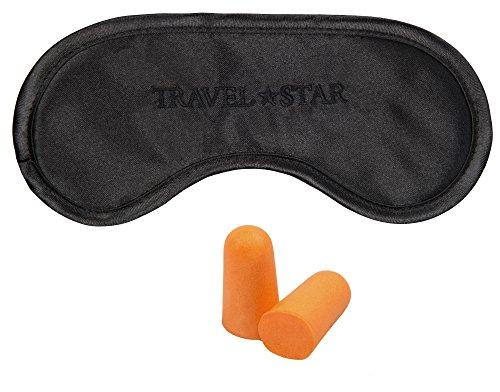 travelstar Premium-Schlafmaske (Schwarz) Inklusive Ohrstöpseln (TS-S-1000) (Entspannung Wrap)