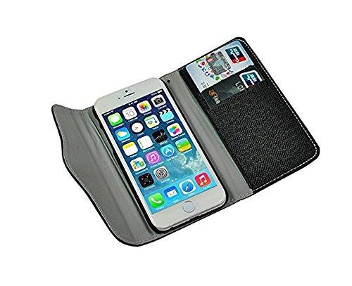 topways® Wallet Fall PU Leder Wallet Cover Schutzhülle mit Kreditkartenfächer und Standfunktion für Apple iPhone 611,9cm - Black2