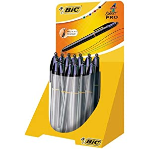 Bic Shine – Bolígrafos de punta de bola, 20 unidades, color negro, azul, rojo y verde