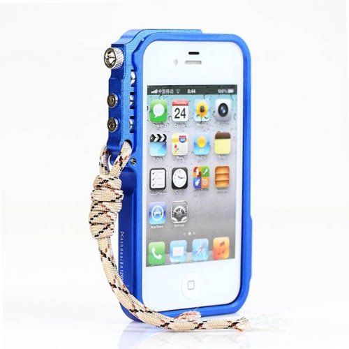 Arm Grain Motif aluminium Housse de protection pour iPhone 4 4S bleu
