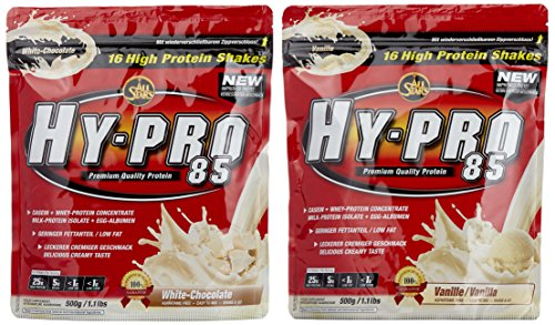 All stars Hy-Pro 85 Beutel 2er Mix Pack (2 x 500 g) Vanille/White Chocolate, 1er Pack (1 x 1 kg) (Vanille Egg Protein)