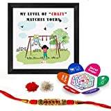 Indigifts Raksha Bandhan Gifts For Brother Set Of My Level Of Crazy Matches Yours Quote Printed Multi Gift Set Of Poster Frame, Crystal Rakhi For Brother, Roli, Chawal & Greeting Card - Rakhi Gifts For Brother, Rakhi For Brother With Gift, Rakshabandh
