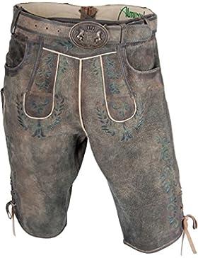 Almwerk Herren Trachten Lederhose kurz dunkelbraun Modell Max mit grünem Stick
