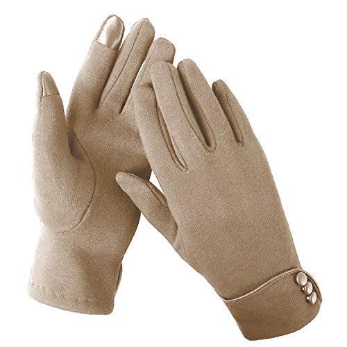 Aibrou guanti invernali da donna, esterno phone touchscreen, guanti invernali per natale antivento per lo sport, ciclismo, corsa (taglia unica, a-khaki)