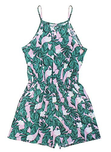Get Wivvit Girls Fern Leaf Print Playsuit Strappy Shorts Romper Outfit Sizes From 9 To 15 Years