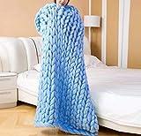 YIWANGO Super Dicke Wolle Stricken Decke Handgewebte Dicke Linie Teppich Klimaanlage Decke,Blue-100 * 200CM3.2KG