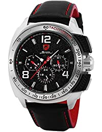 Shark SH418 - Reloj Hombre de Cuarzo, 6 Manecillas, Cuero Auténtico Negro