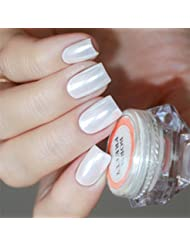 Born Pretty Poudre nacrée pour ongles nail art, blanc, 1,5 g
