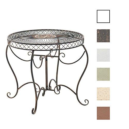 CLP runder Eisen-Tisch SHEELA in nostalgischem Design, Durchmesser Ø 88 cm, Höhe 70 cm (aus bis zu 6 Farben wählen) Bronze