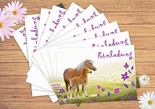 12 Pferde Einladungskarten ...