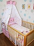 Baby Bettset -6 tlg- mit Bettwäsche Nestchen Vollstoff Himmel Bettausstattung D9