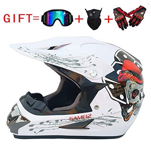 SK-LBB Casco da motociclismo, per adulti, per bambini, Off-Road, MX Motociclo D.O.T Certificato ATV Roller Road Racing Sport/occhiali da regalo