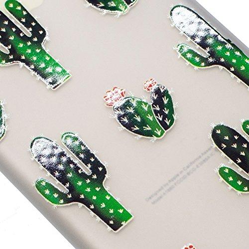 Cover per iPhone 5S, Custodia iphone SE, iphone 5 Custodia Silicone, MoreChioce Moda Funny Cute Fiore Animal Painting Colorato Custodia, Ultra Slim 3d Gel Soft Silicone Gomma Morbido TPU Trasparente C Cactus