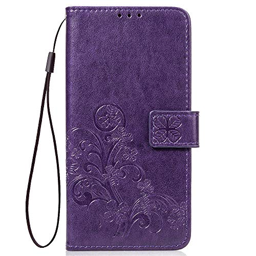 LAGUI Funda Adecuada para Xiaomi Mi 8 Lite, Relieve Dibujo Carcasa de Tipo Libro, púrpura