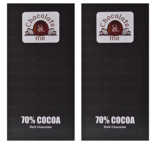 ChocolateandMe, 70% Cocoa Dark Chocolate, 180 grams (Pack of 2)