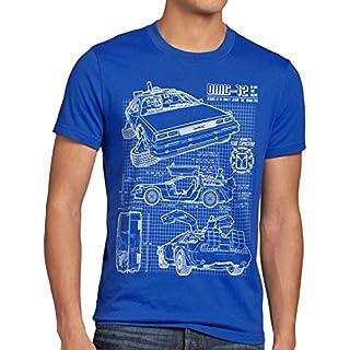 style3 DMC-12 Blaupause T-Shirt Herren Zeitreise 80er McFly Blueprint Auto Car, Größe:L, Farbe:Blau