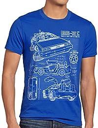 style3 DMC-12 Blaupause T-Shirt Herren Zeitreise 80er McFly Blueprint Auto Car