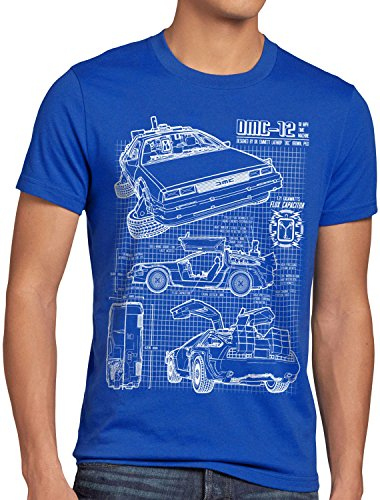 Zukunft Kostüm Einfache - style3 DMC-12 Blaupause T-Shirt Herren Zeitreise 80er McFly Blueprint Auto Car, Größe:M, Farbe:Blau