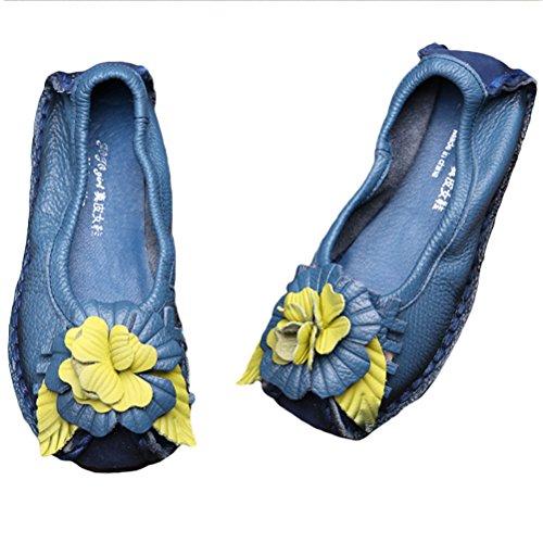 Vogstyle Femme Fleur en Cuir Slip-on style-7 bleu