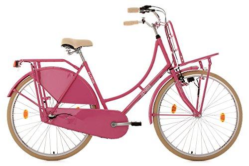 KS Cycling Damen Fahrrad Hollandrad Tussaud 3-Gang mit Frontgepäckträger RH 54 cm, pink, 28 Zoll, 330H