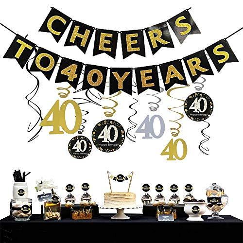 Sayala 40. Geburtstag Party Dekoration Kit - 40. Geburtstag Spirale Deckenhänger,Cheers zu 40 Jahre Banner Golden Bunting,40. Geburtstag Cake Topper mit 40. Geburtstag Weinflaschen-Etiketten -