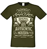T-Shirt Geschenk zum 47. Geburtstag Special Edition 1971 Bruder Sohn Freund Papa Opa Farbe: Khaki Gr: XL