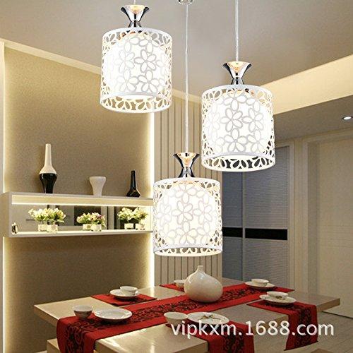 Pflaumen-glas-anhänger (NabothT moderne, minimalistische Mode Glas Anhänger Deckenleuchten Lampen-LED drei Restaurant Flurbeleuchtung, Drei (weiß Pflaume), LED-Fernbedienung (mit Quelle) hell ihr Leben)