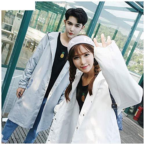Guyuan Hong Kong Style japanische Männer und Frauen Paar Version des Langen Absatz über den Knie Mantel Regenmantel Mantel Hut (Color : White, Size : L) (Japanische Mäntel Für Frauen)