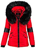Navahoo Damen Winter Jacke Designer Parka Kunstfell Winterjacke B369 (S, Rot)