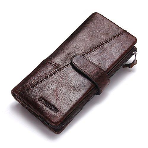 (Contacts Herren echtes Leder Vintage Bifold Trifold Brieftasche Karte Münze Halter Clutch Geldbörse Dunkelbraun)