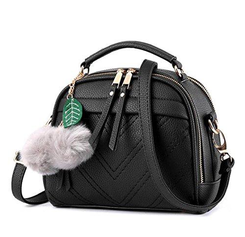 Hippolo Damen Handtasche Klein Umhängetasche Schultertaschen PU Leder Taschen Henkeltasche Shopper Schwarz