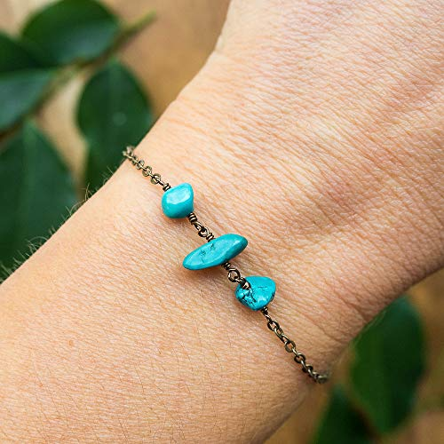 Turquoise beaded chain crystal bracelet in bronze - 6