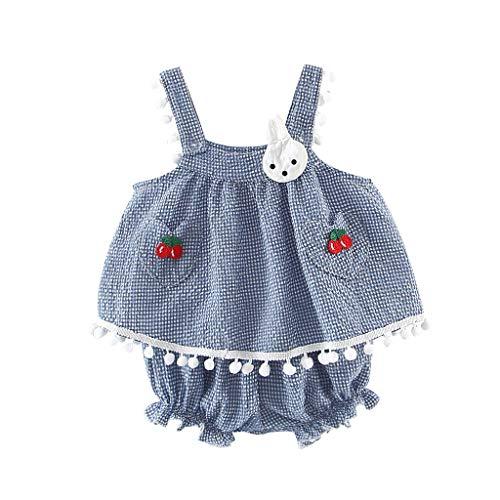 Ärmellose Kinderschlinge Cherry Bunny Print Top + Shorts Zweiteiliges Set YunYoud einfach Sommer Kleid beiläufig schöne Lose Jumpsuit