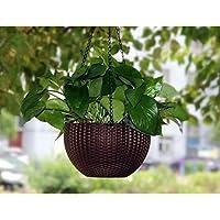 Tex Homz Hanging Baskets Rattan Waven Flower Pot Plant Pot with Hanging Chain for Houseplants Garden Balcony Decoration…