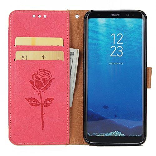 EKINHUI Case Cover Dual Color Matching Premium PU Leder Flip Stand Case Cover mit Card Cash Slots und Lanyard für Samsung Galaxy S8 ( Color : Pink ) Red