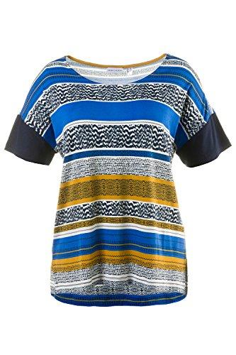 GINA LAURA Damen Shirt in relaxter Passform   Musterstreifen   uni Halbarm    Rundhalsausschnitt   Überschnittene ...