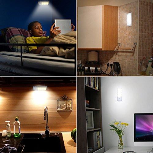 confronta il prezzo Luce Notte LED, Techole Lampada Armadio con Sensore Luce e di Movimento, Batteria Ricaricabile, Striscia Magnetica Adesiva Luce per Armadio, Scale, Corridoio, Cucina, Garage etc-Auto/On/Off miglior prezzo